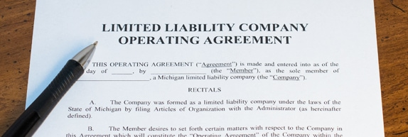 Example of a Limited Liability Company Operating Agreement used for starting a business or LLC in Michigan
