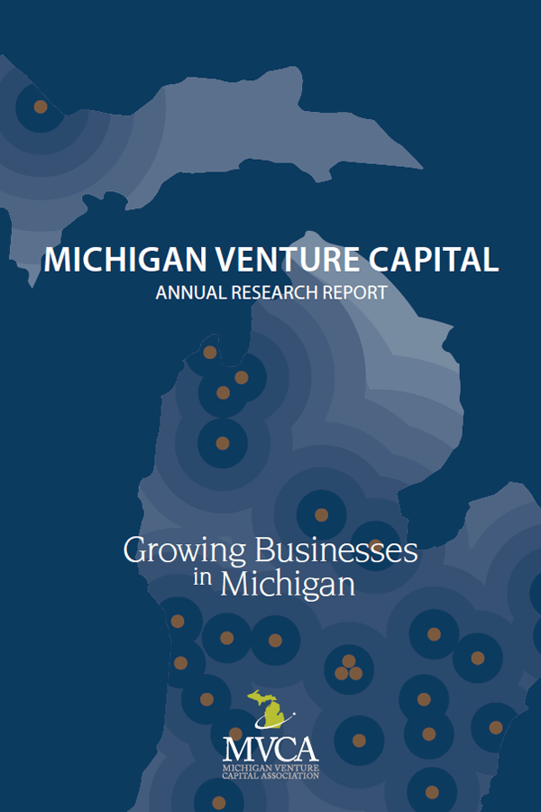"Physical copy of a report titled ""Michigan venture capital annual research report"" with the mitten shaped state in the background and the subtitle text ""growing a business in Michigan."""