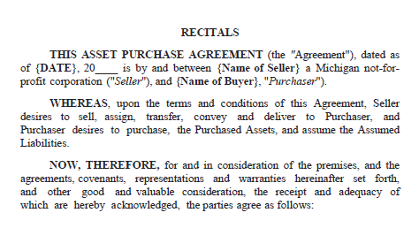 Top portion of a sample contract that's titled asset purchase agreement. Underneath the title is legal language and areas to fill in information for the buyer and seller.