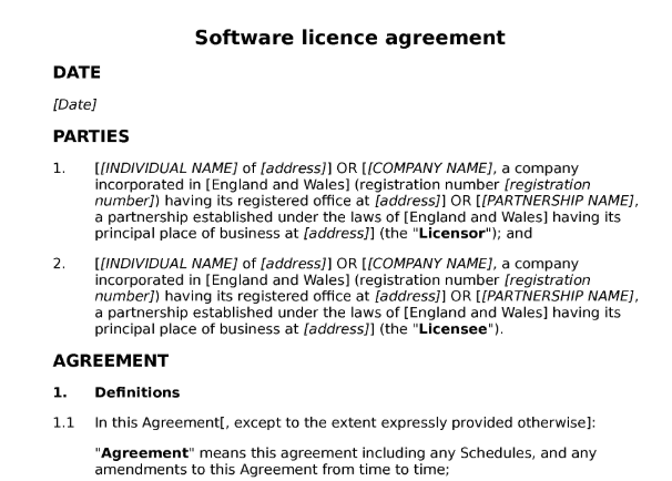 A template example of a Software Agreement between two companies