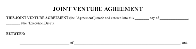 Blank example of a Joint Venture Agreement document titled Joint Venture Agreement