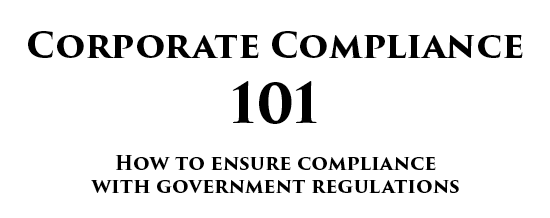 Front of an article that's titled corporate compliance