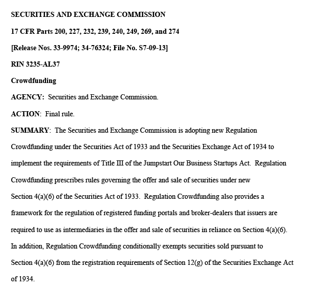 Legal documentation from the Securities and Exchange Commission on crowdfunding