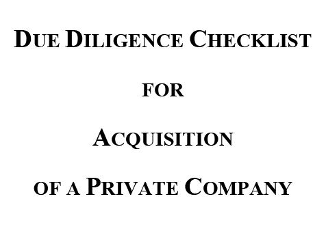 Cover page that's titled Due Diligence Checklist For Acquisition of a Private Company