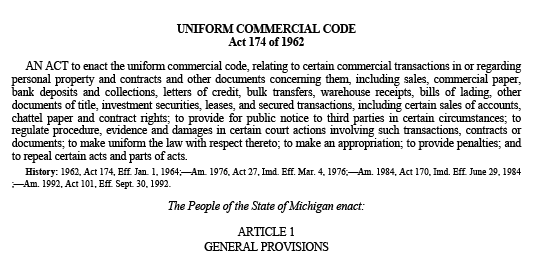 Copy of Michigan's Uniform Commercial Code Act 174 relating to business law and commercial transactions. The copy shows legal language on the subject