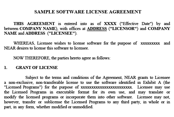 Sample of an intellectual property software licensing contract